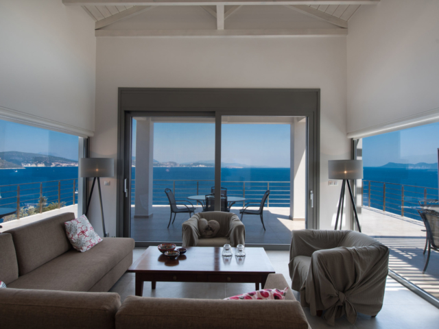 living room with sea view, villa Lefkas