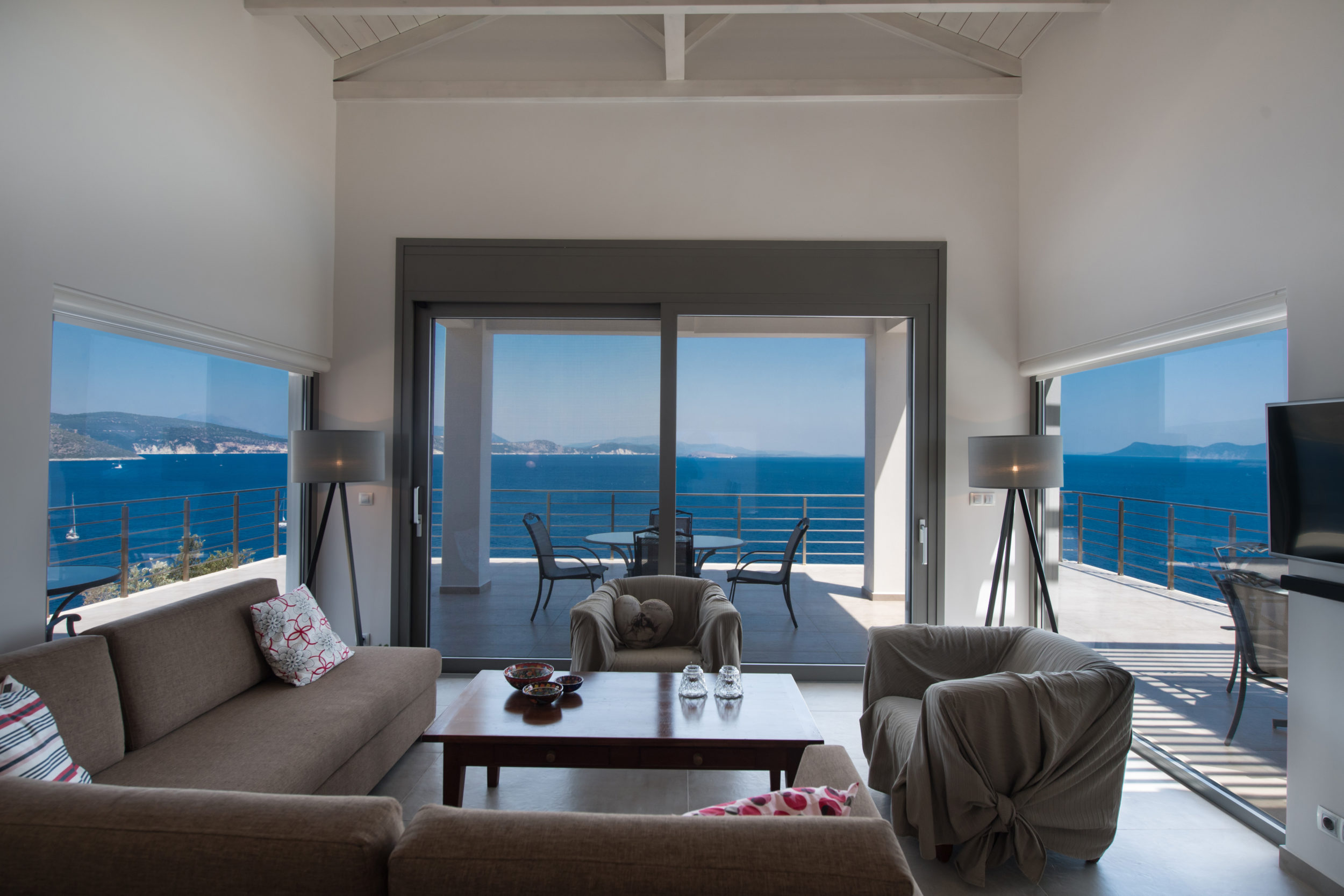 design living room with sea view luxury villa Lefkas in Greece
