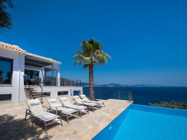 swimming pool with palmtree Villa Lefkada