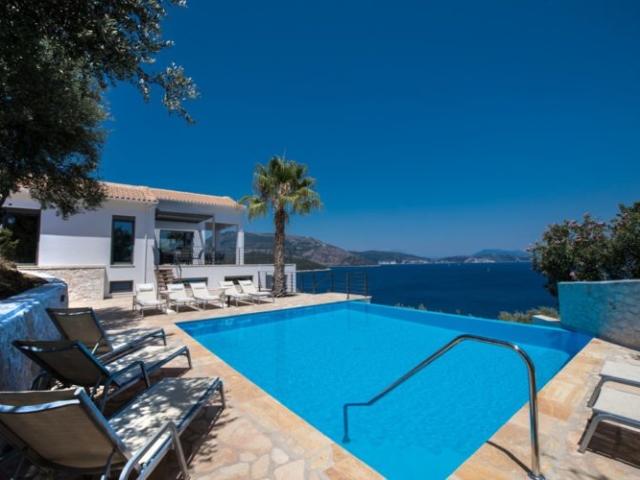 swimming pool of modern design villa Lefkas Greece
