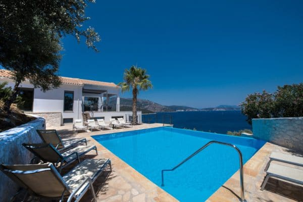swimming pool of modern design villa Lefkas Greece