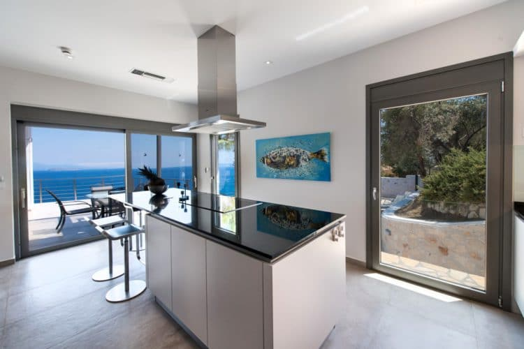 Kitchen with sea view villa Lefkas