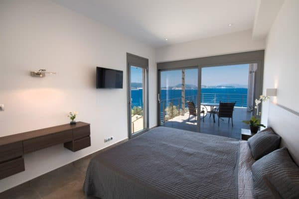 Double bedroom with sea view luxury villa Lefkas Greece