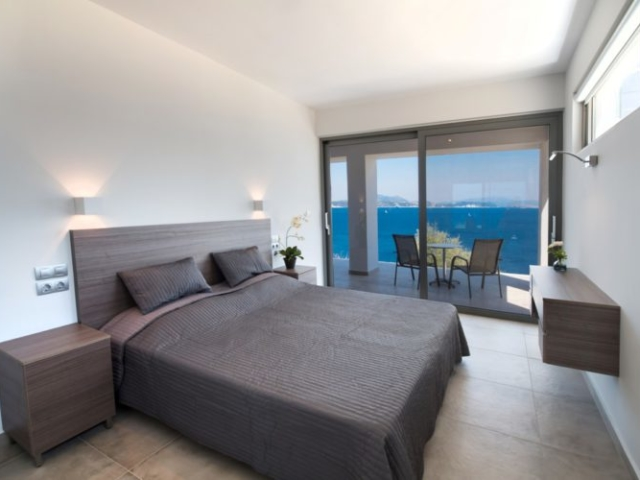 Bedroom with sea view villa lefkas