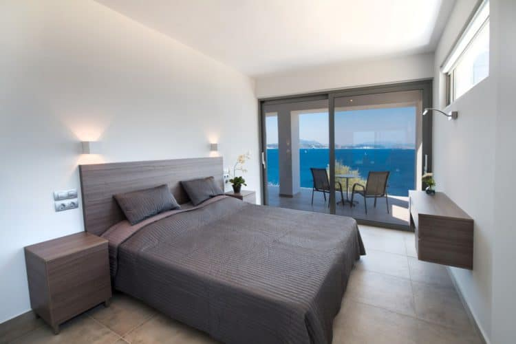 Double bedroom with sea view in luxury villa Lefkas Greece