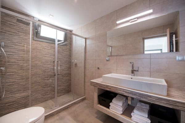 Bathroom with rainshower in luxury villa Lefkas Greece