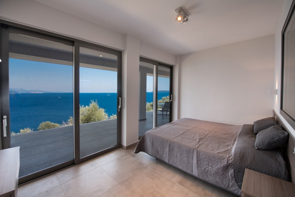 Double bedroom with spectacular sea view in luxury villa Lefkas Greece