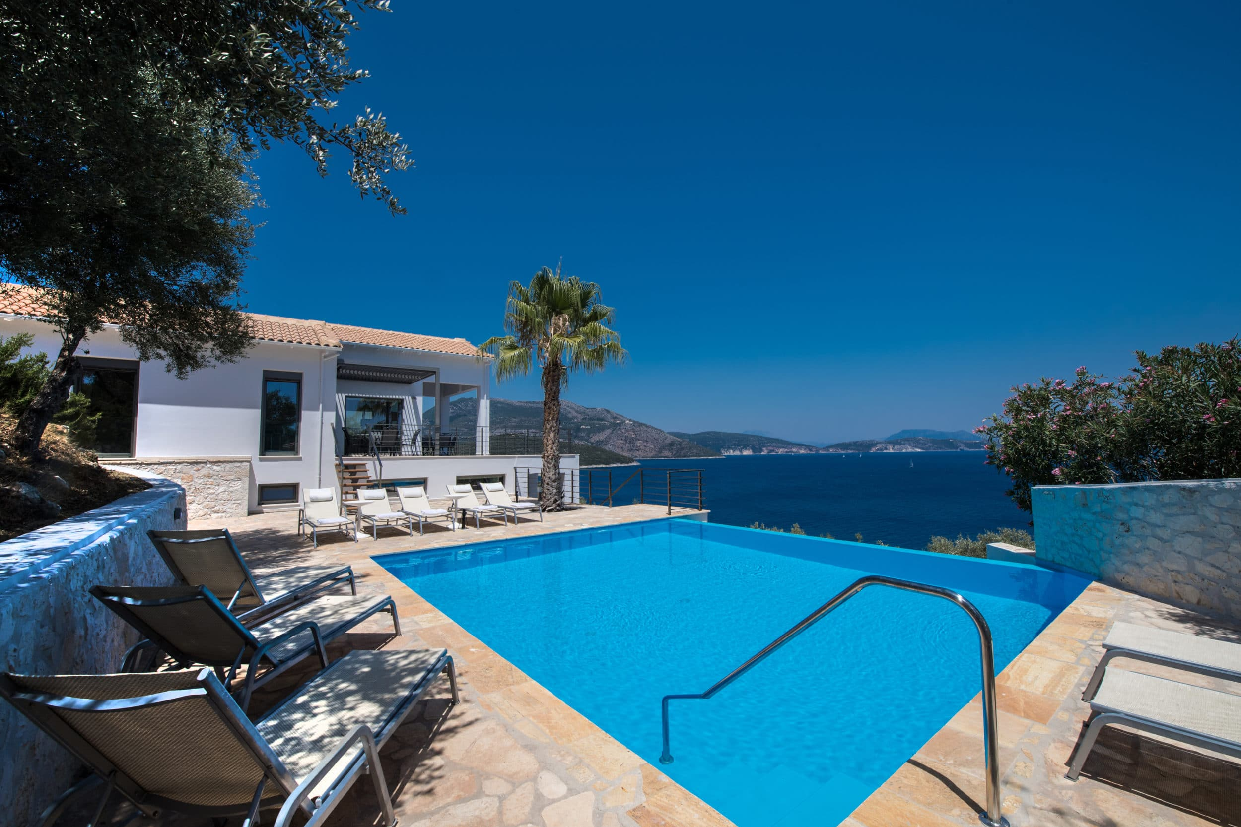 private infinity swimming pool luxury villa lefkas Greece